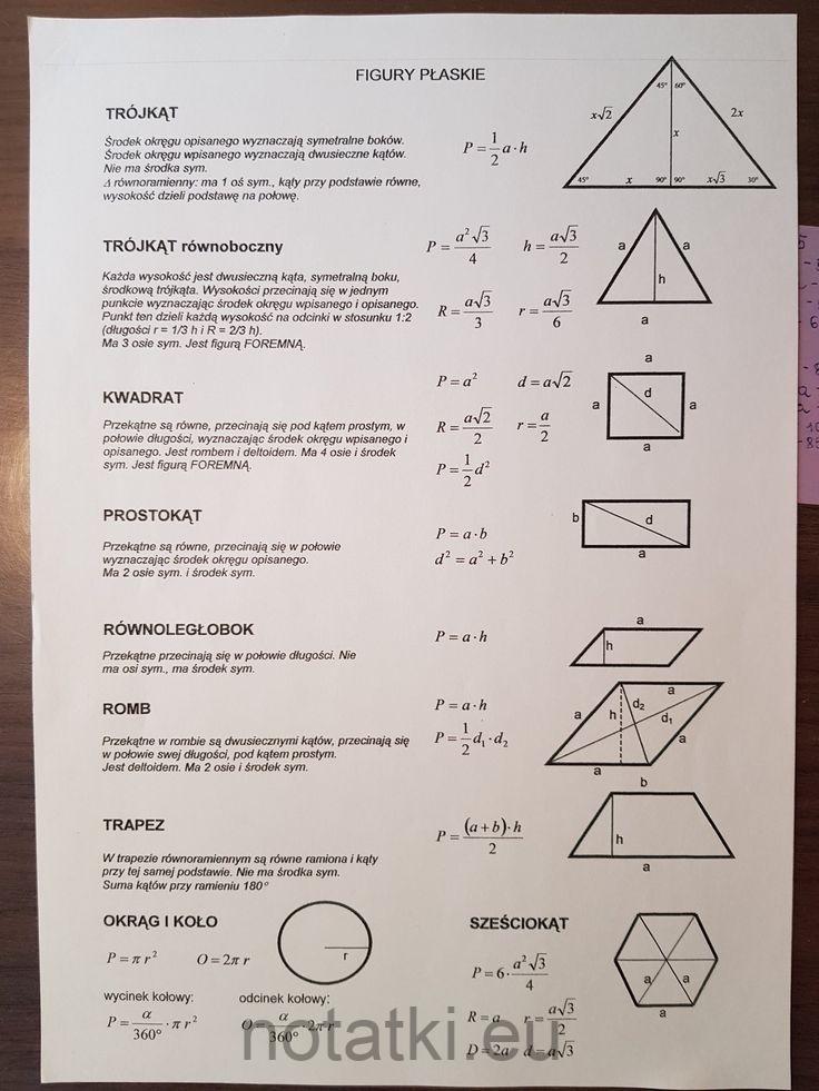 Figury płaskie notatki zadania sprawdziany odpowiedzi