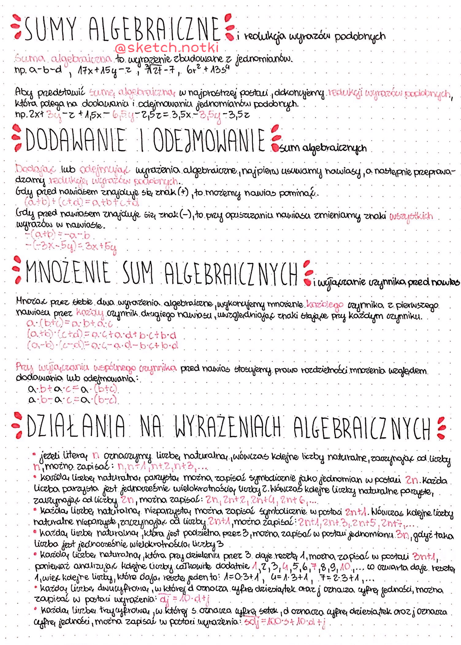 Wyrażenia algebraiczne notatki zadania sprawdziany