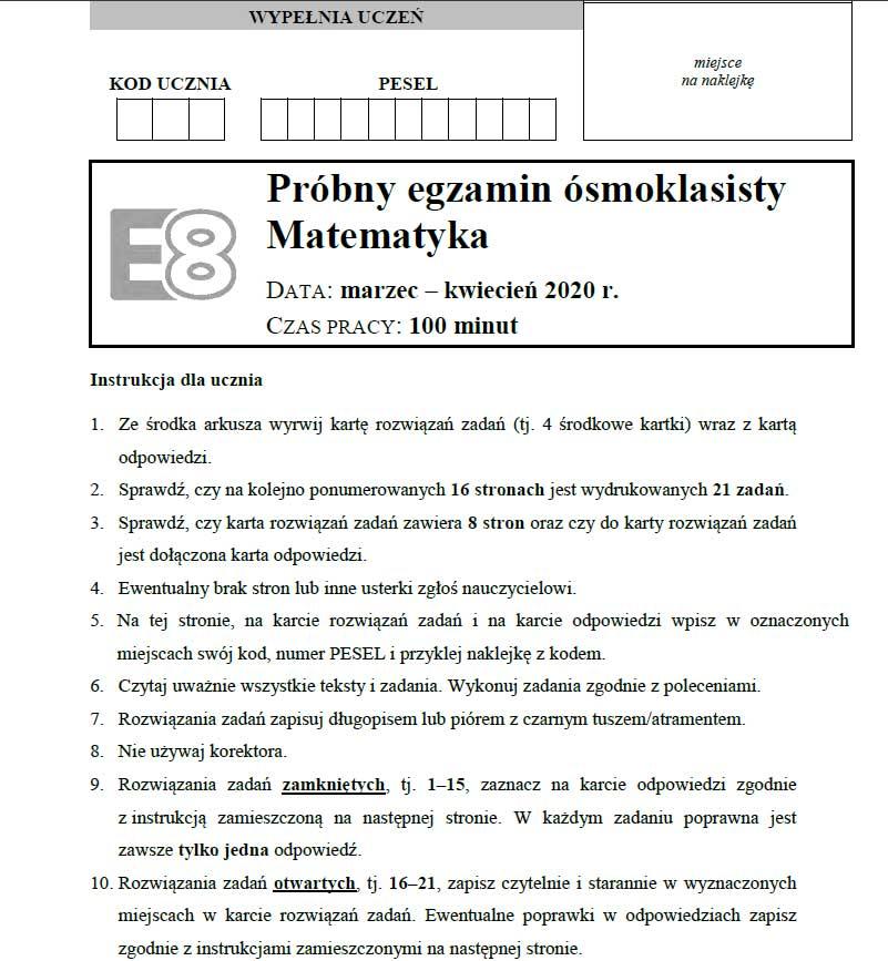 Egzamin ósmoklasisty arkusze matematyka